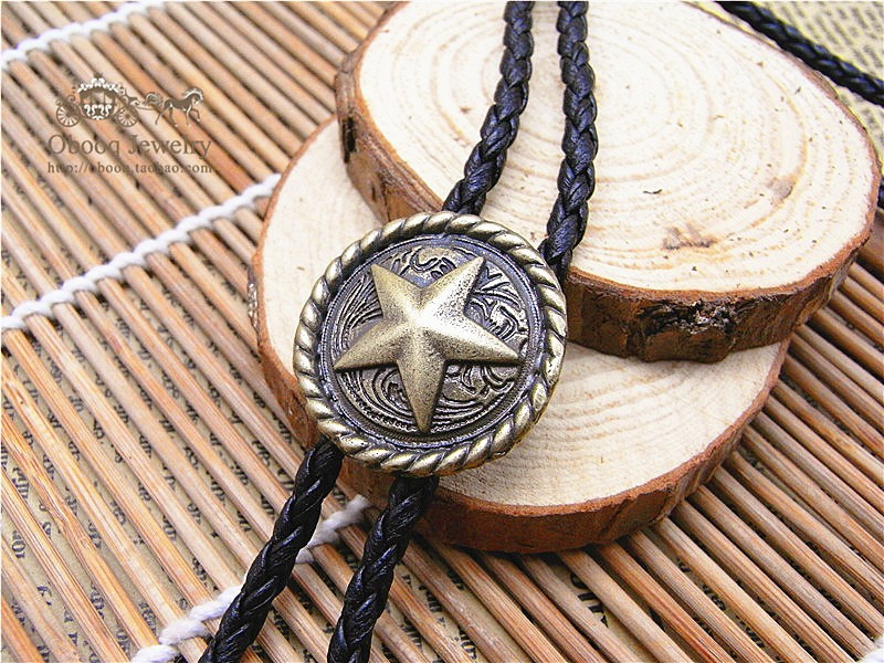 Bolo Tie Gold And Silver The Latest Retro Chain Pentagram Round Card Poirot Led Rope Leather Necklace Long Tie Hang