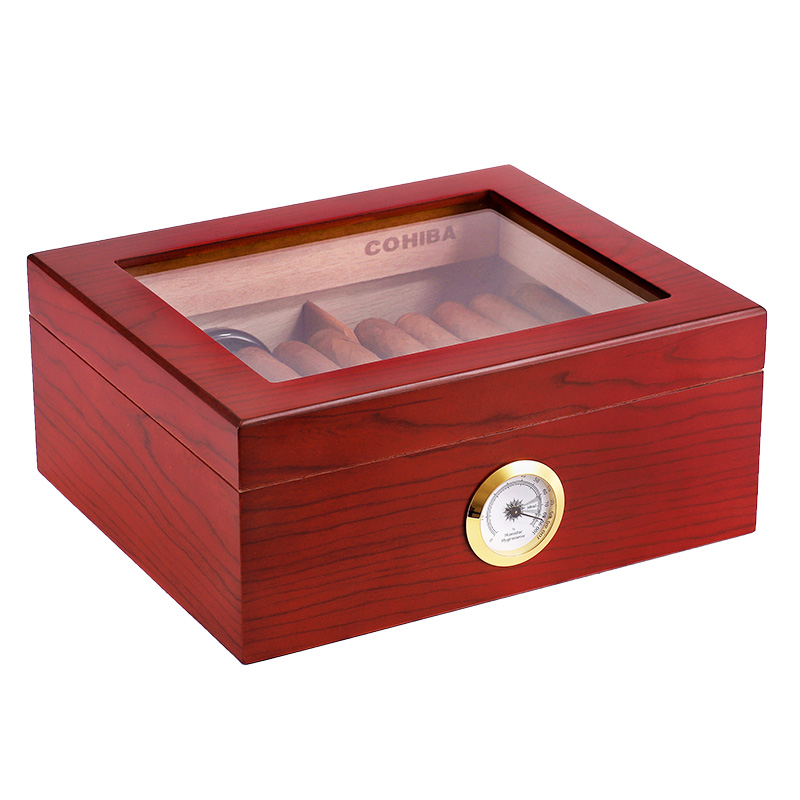 Red Cedar Wood Cigar Box (50pcs Cigar) Humidor Cabinet Storage Box With Hygrometer
