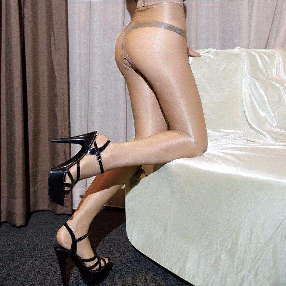 Sexy 40d mulher óleo collants brilhante meia-calça cintura alta crotchless collant ouvert femme meias calças mujer