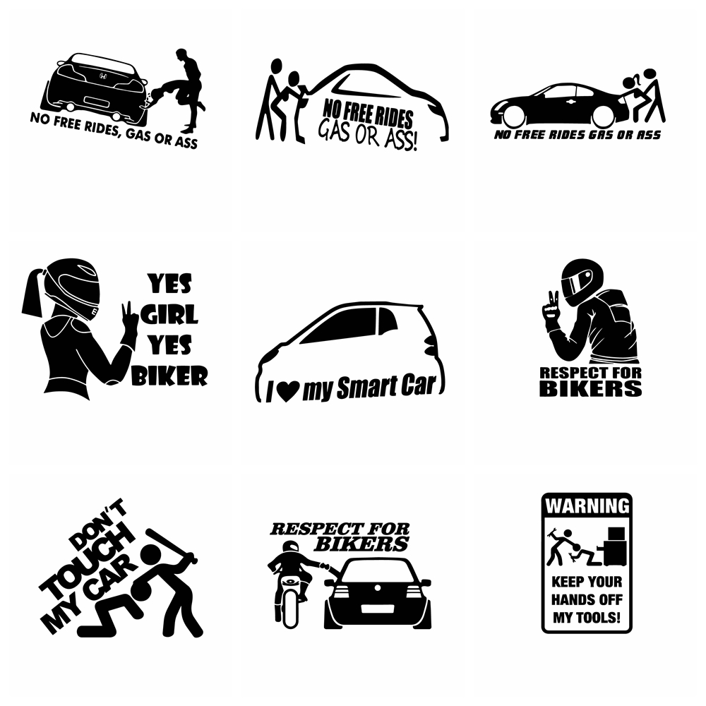 Free Shipping Biker Inside Car Stickers Funny Decal Auto Window Body Waterproof Removable Decor Car-styling Cars Accessories
