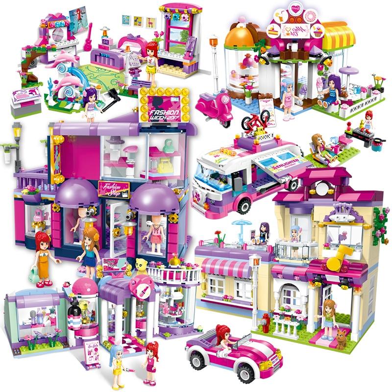 Girls Educational Star House Building Blocks Heartlake Market Bricks Toys For Children Gifts City Legoinglys Friends Car Model