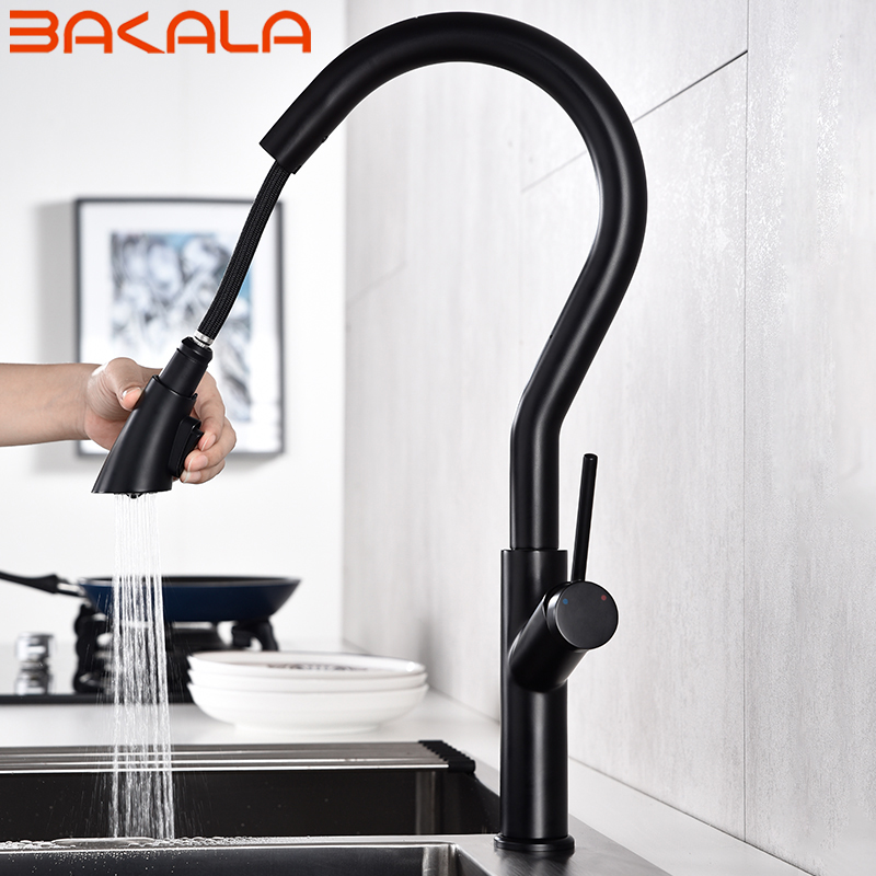 Chrome Black Kitchen Sink Faucet Swivel Pull Down Kitchen Faucet Sink Tap Mounted Deck Bathroom Mounted Hot And Cold Water Mixer