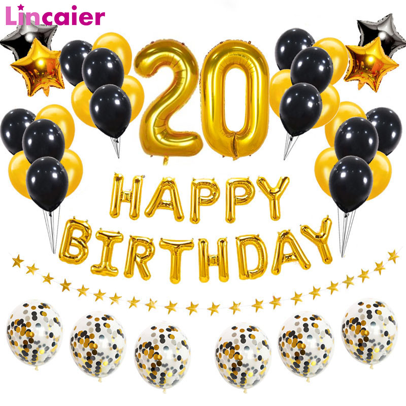 38pcs Number 20 Gold Black Balloons <font><b>20th</b></font> Happy <font><b>Birthday</b></font> Party <font><b>Decorations</b></font> Adult 20 Years Old Man Woman Supplies Anniversary image