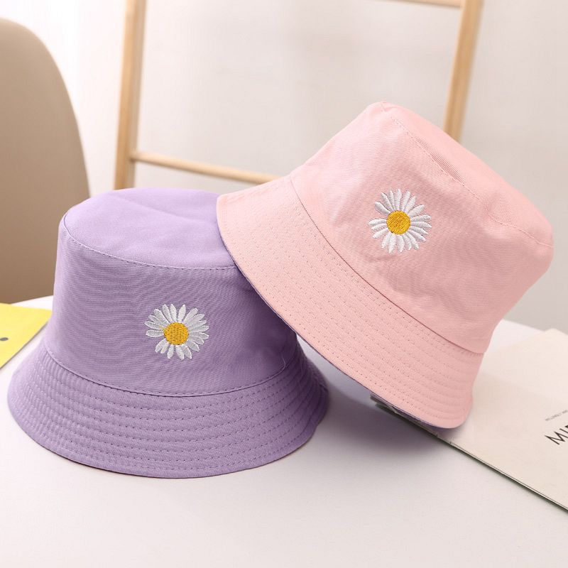 Daisy Cute Children Fisherman Hat Baby Cap Cotton Bucket Hat For Kids Summer Sun Hats 1-6 Years Old Toddler Boys Girls Bob Hats