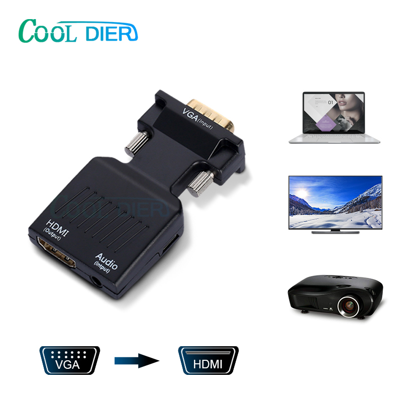 COOLJIER VGA Male To HDMI Female Converter With Audio Adapter Cables 720/1080P For HDTV Monitor Projector PC Laptop TV-Box