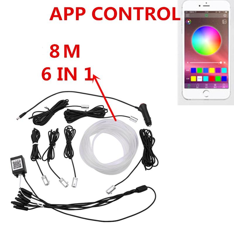 Светодиодсветильник RGB лента для салона автомобиля, гибкая неоновая лампа с дистанционным управлением, Bluetooth, телефона, для создания атмосф...