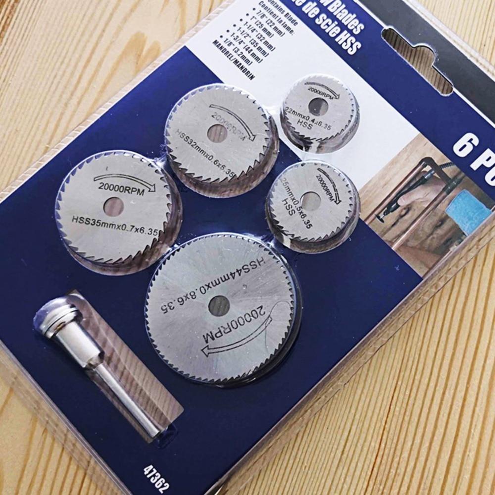 Mini Circular Saw Blade Set 6pcs Multitool Blades Wood Drive HSS Cutting Disc Rotary Tool Accessories Compatialble Rotating
