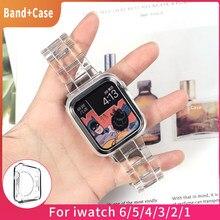 Mais novo pulseira para apple assistir banda série 6 se 5 4 321 transparente para iwatch pulseira 38mm 40mm 42mm 44mm pulseira acessórios