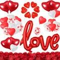 День Святого Валентина воздушные шары украшения XXL любовное письмо воздушные шары свечи Сердце Лепестки роз красный, белый Сердце Конфетти ...