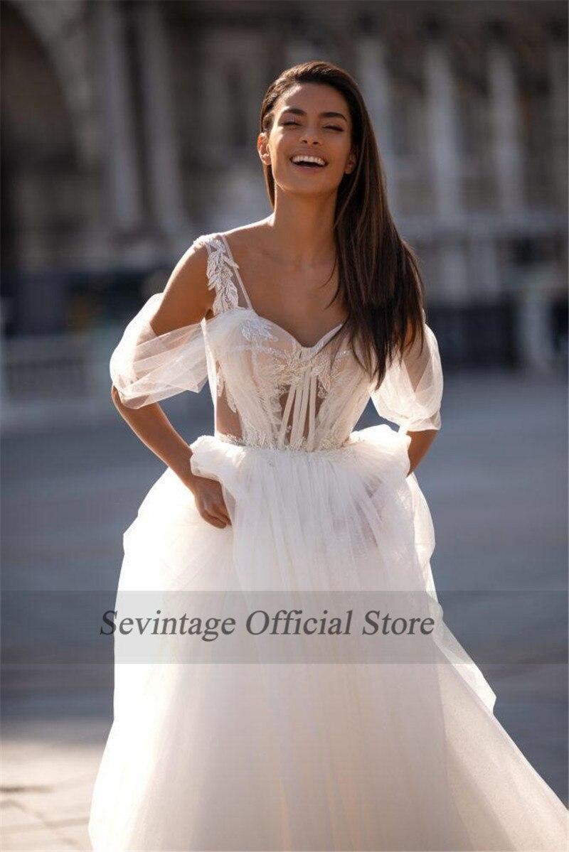 Sevintage 2020 Lace Appliqued Boho Wedding Dresses Spaghetti Off The Shoulder Backless Bohemian Bridal Gowns Vestido De Novia