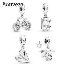 Aouveza 2021 novo estilo 925 prata esterlina encantos caber pandora charme pulseiras jóias diy dumbo bicicleta charme menina frisado presente