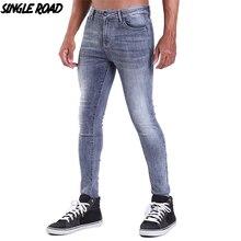 Single Road Super Skinny Jeans Men 2019 Mens Grey Biker Jeans Man Streetwear Stretch Denim Pants Elastic Waist Slim Fit Brand недорго, оригинальная цена