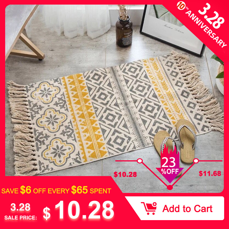 2020New Retro Bohemian Hand Woven Cotton Linen Carpet Rug  Bedside Rug Geometric Floor Mat Living Room Bedroom Carpet Home Decor