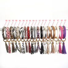 Boho Wristlet Keychain For Women PU Leather O-ring Key Chain Colorful Custom Circle Tassel Keychains Girl