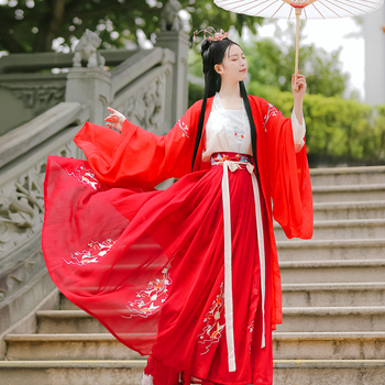 Hanfu chino tradicional femenino Qi cintura bordado trajes de manga grande Han/Tang/Song Dynasty ropa azul/rojo Hanfu DQL3476