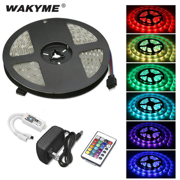 WAKYME 5M RGB LED Strip Light SMD 5050 SMD 3528 Waterproof Flexible LED Light Tape Stripe Lamp with Remote Control Adapter Plug