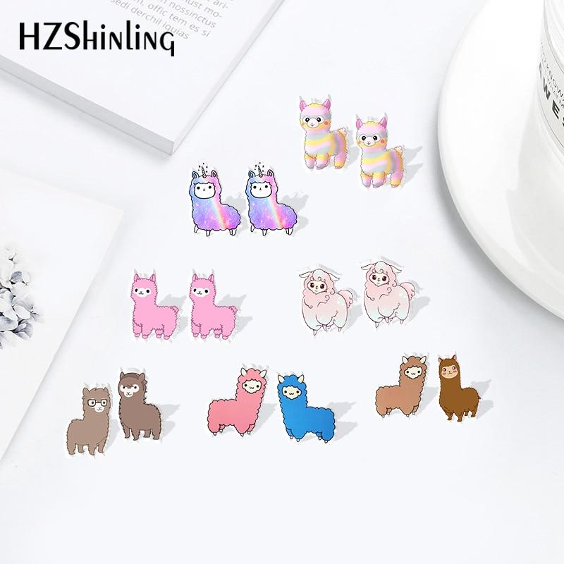 HZSHINLING New Cute Animal Alpaca Stainless Steel Resin Earrings Shrinky Dinks Earrings Sweet Accessories Acrylic Earrings Epoxy