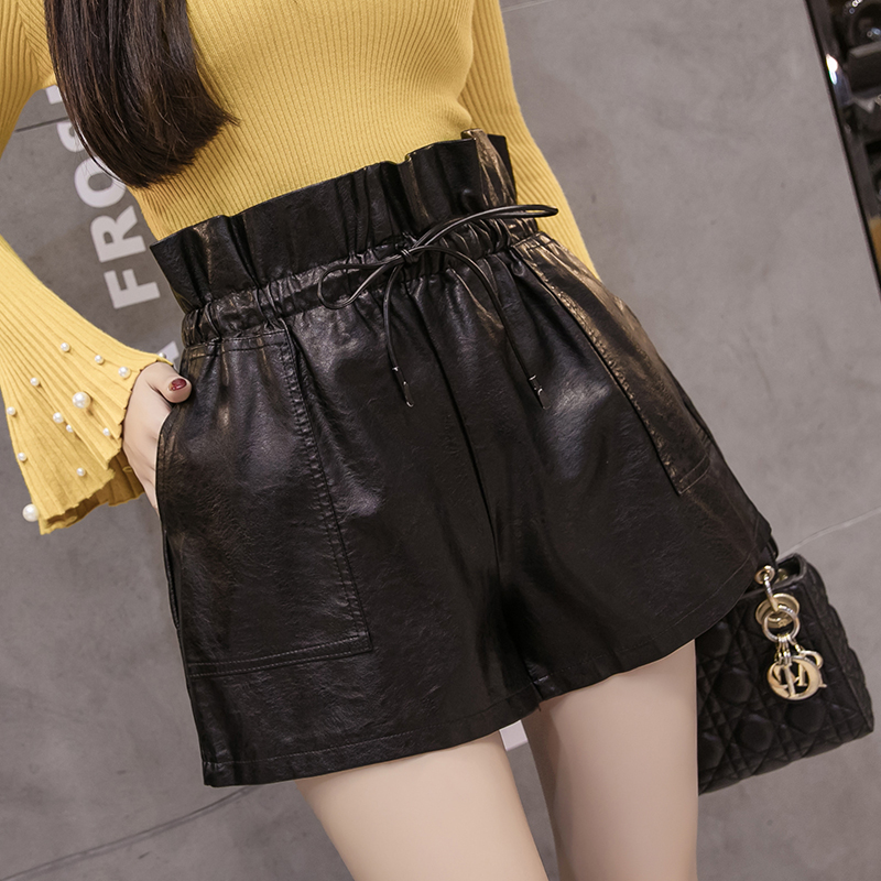 PU Leather Wide-legged Shorts Autumn Winter Women Ruffles Elastic Waist PU Shorts Girls A-line Faux Leather Shorts Bottoms