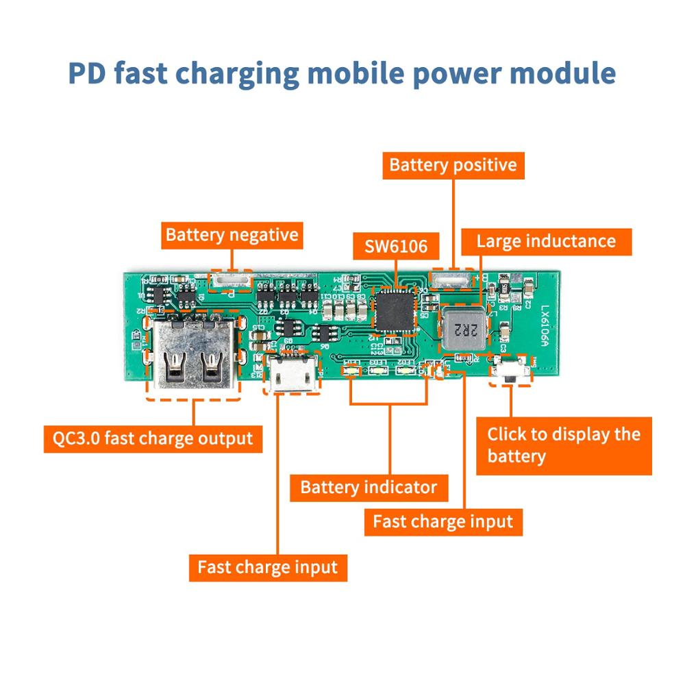 PD Fast Charge QC3.0 Mobile Power Module FCP Two-way Fast Charge 5V9V12V