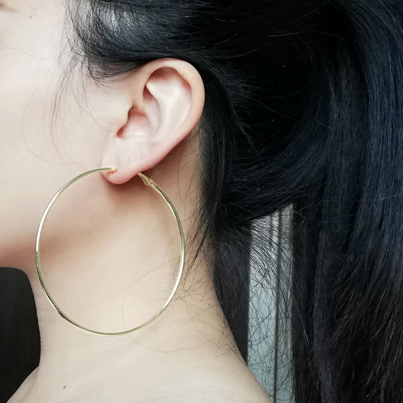 80mm Super Big Hoop Earrings Round Female Ear Rings Silver Color Large Circle Creole Earring Huggies Personality Fashion Jewelry