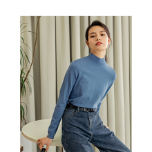 INMAN 2020 Spring New Arrival Office Minimalist Elastic Basic Style Women Knitwear Pullover Tops
