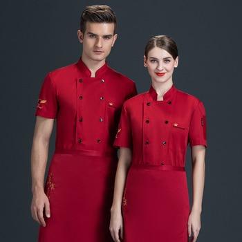 hotel chef uniform female summer short-sleeved hotpot restaurant fast food white baking master chef's kitchen equipment 2