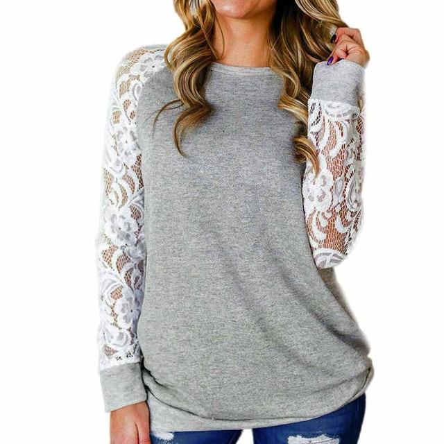 #R40 Lace Floral Splicing Shirt Blouses Women Gray O Neck Long Sleeve Shirts Blouse Tops Women Blusas Mujer De Moda 2020 3