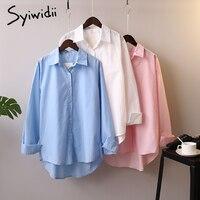 Syiwidii-Blusa abotonada de algodón de manga larga para mujer, blusa Coreana de oficina para mujer, camisetas rosas básicas blancas y azules 2021