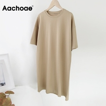 Aachoae Women Casual Loose Solid Cotton T Shirt Dress O Neck Oversize Mini Dress Batwing Short Sleeve Basic Dresses Vestidos