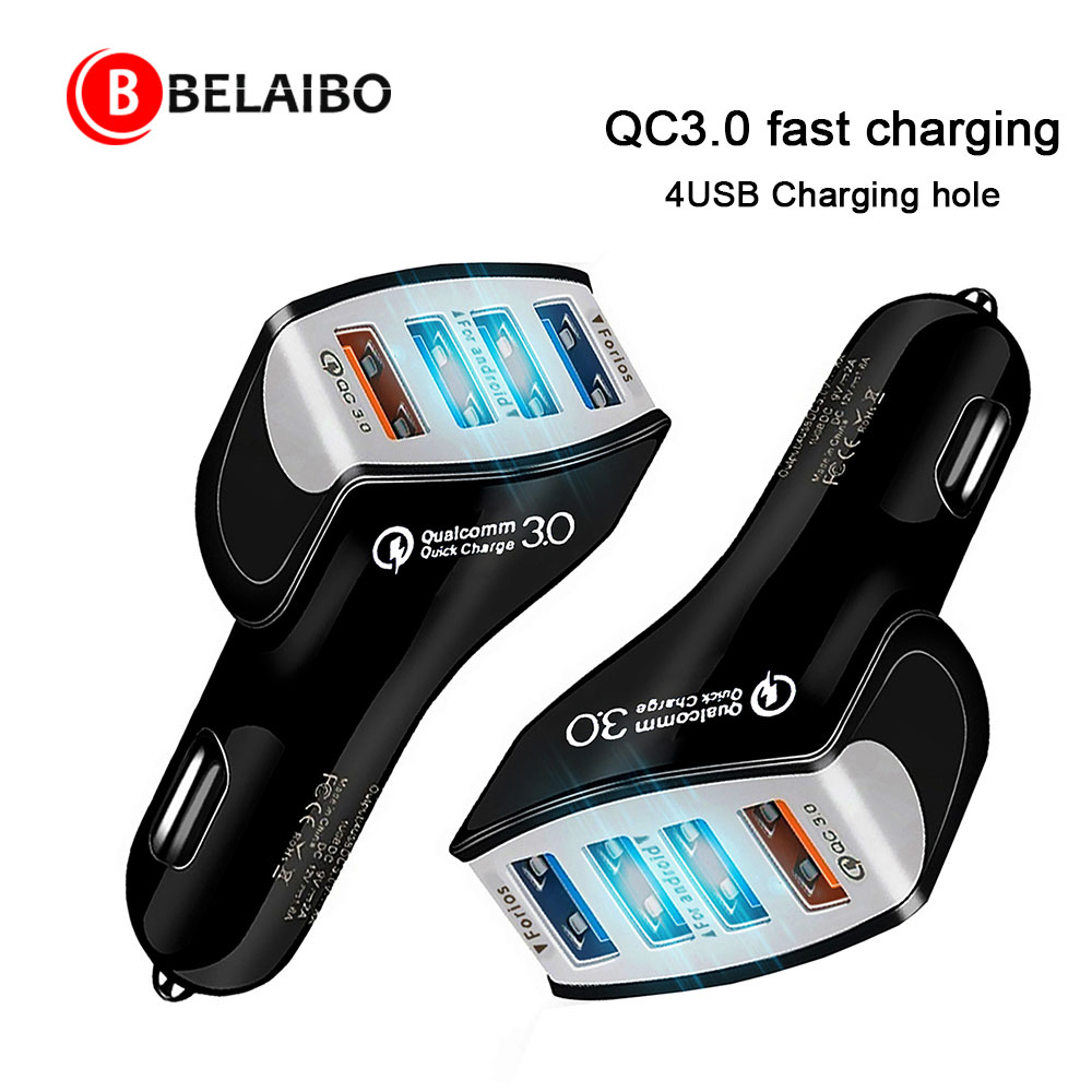 QC 3,0 Schnelle Auto USB Ladegerät 12v Usb Buchse In Auto Zigarette Adapter Zigarette Leichter Socket Kostenlos 4Usb Adapter