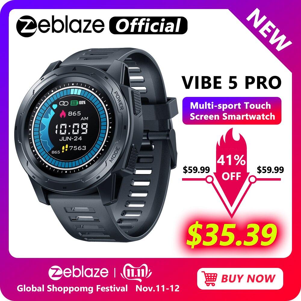 Zeblaze vibe 5 pro color touch display smartwatch freqüência cardíaca multi-esportes rastreamento smartphone com notificações wr ip67 relógio