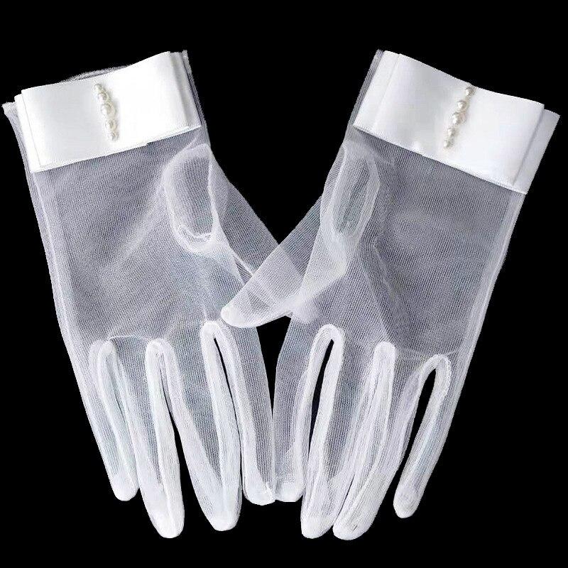 Sheer Tulle Ladies Elegant Gloves Women's Wrist Length Bridal Gloves With Pearls For Wedding Dress Transpare Finger Gloves ST331