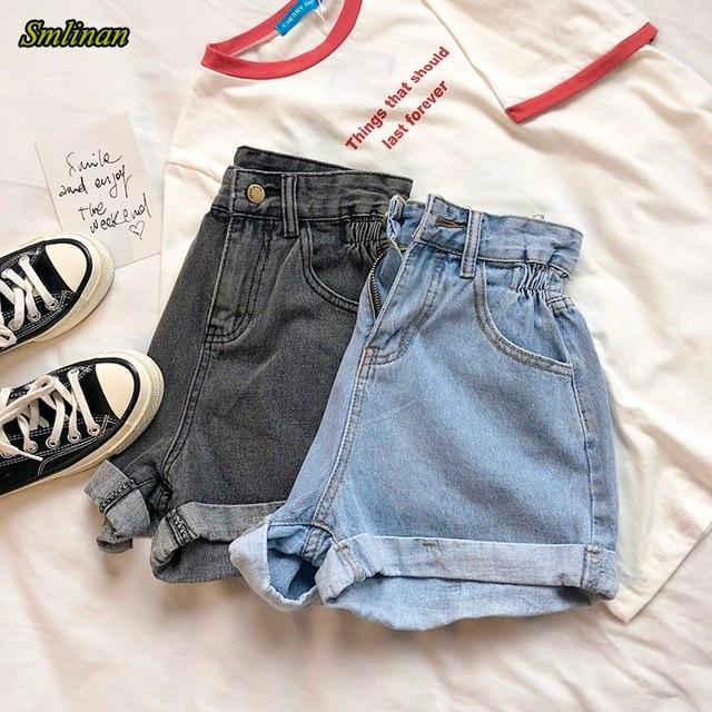 Smlinan Fashion High Waist Vintage Denim Shorts Women Plus Size Casual Harajuku Curling Jeans Mini Short Female Summer Hotpants 1