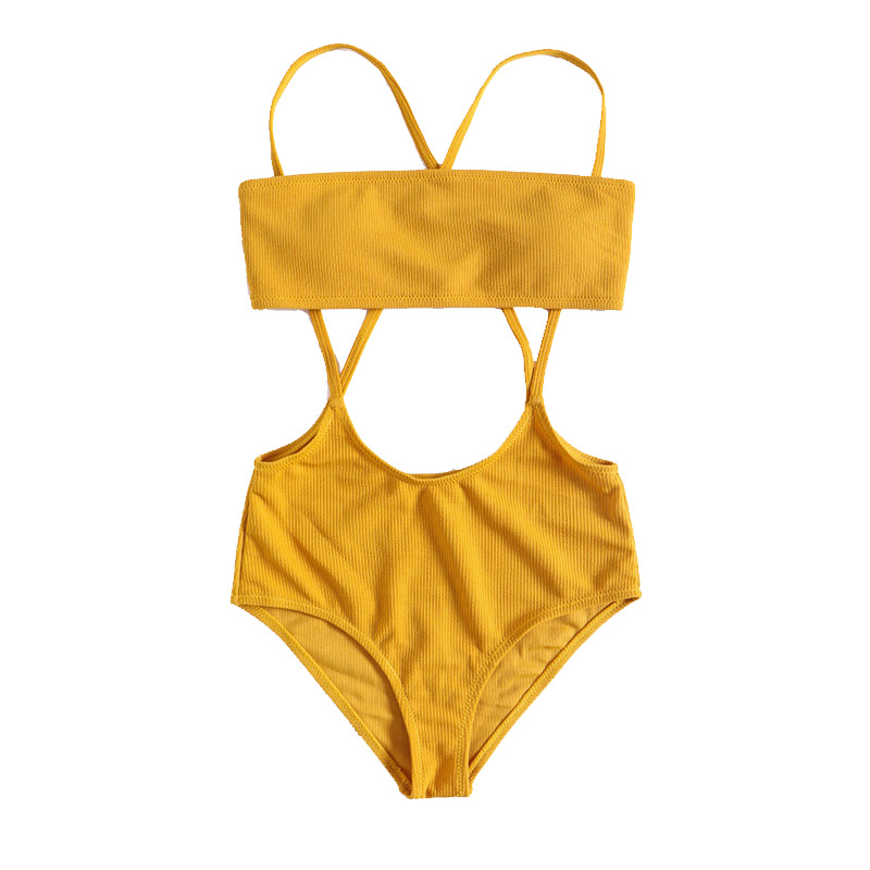2019 Europe And America New Products Hot Selling Sexy Hollow out One-piece Swimming Suit Women's Solid Color Camisole Bikini