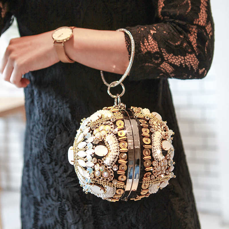 New fashion gold shape bowling shoulder bags siliver diamond and pearl beaded ball wristlets women pouch evening bag