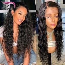 360 sırma ön peruk siyah kadınlar için Elva saç ön koparıp Hairline ile bebek saç doğal dalga 360 Frontal dantel peruk Remy saç