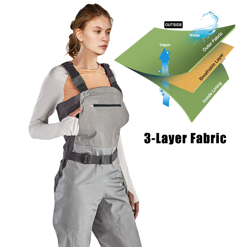 Breathable Anglers Waders, Waterproof Stockingfoot Chest Waders With Zippered Pockets, Lightweight Fly Fishing Waders For Women