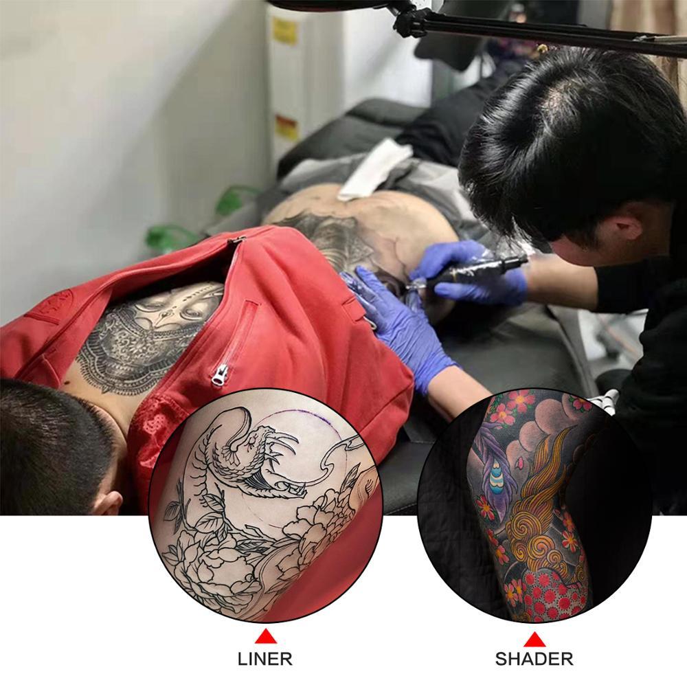 Профессиональный роторный тату-пулемет, набор для тату, машинка для перманентного макияжа тела, цветные чернила, источник питания, картридж, иглы 6