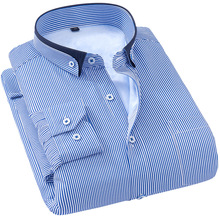 Shirt Dress Slim-Fit Wedding White Male Blue-Striped Fashion Brand 5XL 6XL Big 7XL Size8xl