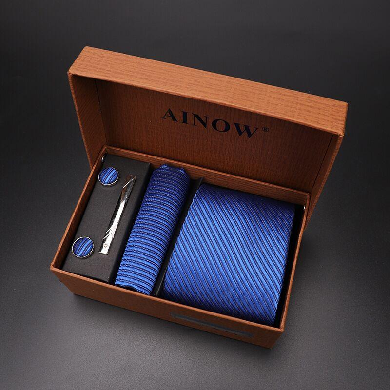 Набор галстуков 4 шт. мужской цветочный галстук для шеи клетчатый галстук подарок свадебный красный полосатый 8 см темно-синий жаккардовый тканый черный однотонный Камуфляжный ящик - Цвет: NO box 17
