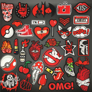 Red Ghost Heart Patches for Clothing Embroidered Iron On Badges Stripes for Clothes Stickers Appliques DIY Decoration Patch