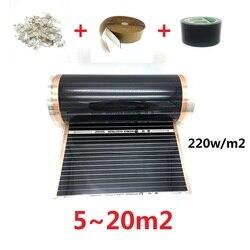 5m2 ~ 20m2 Carbon Infrarot Heizung Film Korea Warmen Boden Matte mit Schellen Isolierung Pasten