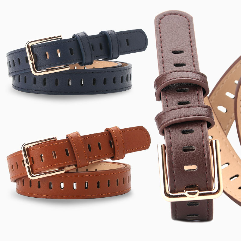 2019 New Design Faux Leather Belt Female Square Pin Buckle Belts For Women Waistband Hollow Out Waist Strap For Jeans Pants