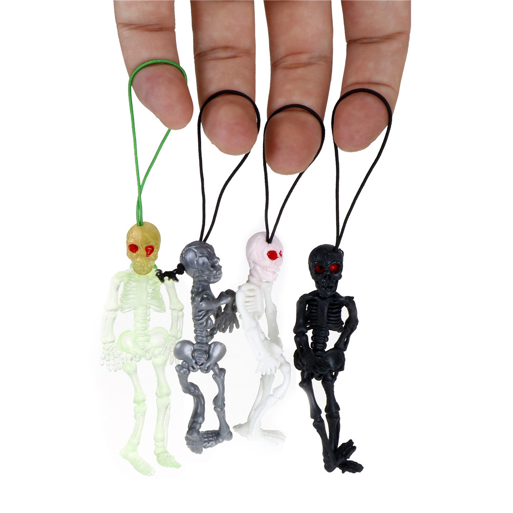 2pcs/lot Rubber Scaryskull Toys Mini Luminous Glow In The Dark Skeleton Hanging Decoration