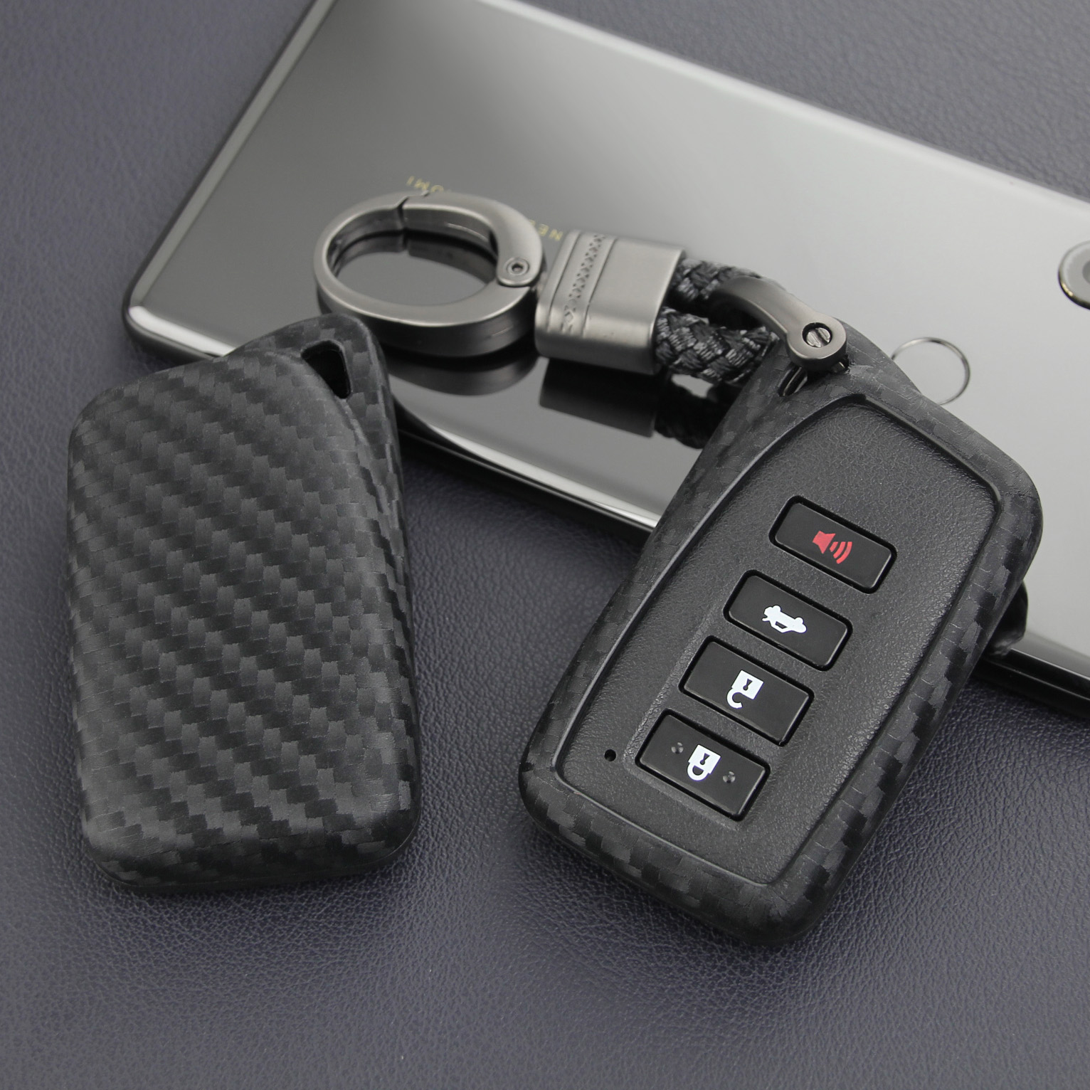 For Lexus IS ES NX RX GS LX RC Carbon Fiber Car Key Fob Case Cover Chain Ring Accessories 200 260 300 350 450 570 F Sport