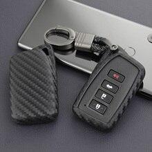 For Lexus IS ES NX RX GS LX RC Carbon Fiber Car Key Fob Case Cover Chain Ring Accessories 200 260 300 350 450 570 F Sport