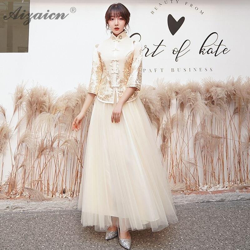 Китайское традиционное платье Чонсам Китай цвет шампанского платье подружки невесты Qi Pao для женщин Восточный стиль сестры платья Qipao