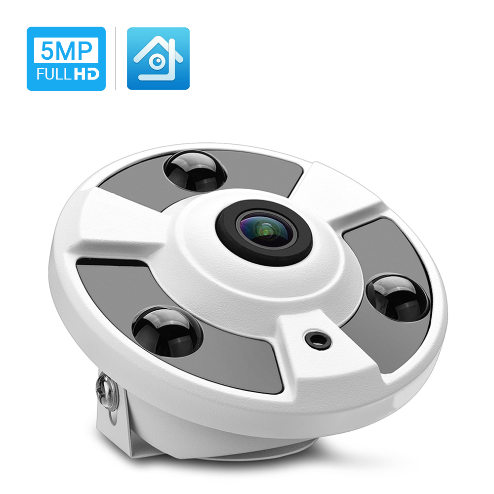 Hamrolte H.265 IP Camera 1.7MM Fisheye Lens Hi3516D 5MP Panoramic ONVIF IP Camera Xmeye Could Phone View DC12V POE48V Optional-in Surveillance Cameras from Security & Protection