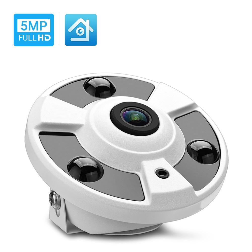 Hamrolte H.265 IP Camera 1.7MM Fisheye Lens Hi3516D 5MP Panoramic ONVIF IP Camera Xmeye Could Phone View DC12V POE48V Optional