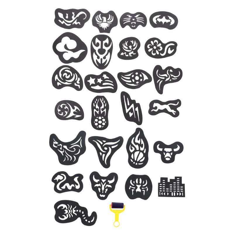25PCS/SET Temporary Tattoo Stencil Haircut Hair Coloring Shaping Tool Roller